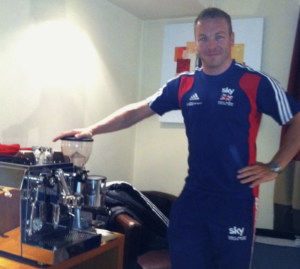 Chris Hoy with his personal coffee machine